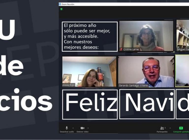 titulo de la noticia y montaje de zoom con el mensaje de FELIZ NAVIDAD