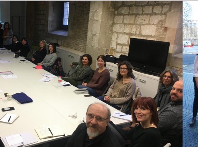 Dos momentos de los encuentros de Asepau con colectivos catalanes de Accesibilidad