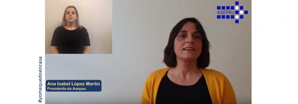 Captura del vídeo con la presidenta de Asepau